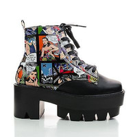 Rave07A Black Patent By Bumper, Comic Book Strip Ankle Chunky Lug Sole Boots