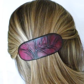 French Barrette, Womens Hair Accessories, Leather Hair Barrette, Hair Jewelry, Large Clip, College, Graduation, Bestfriend Gift, Leather Art