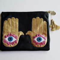 HAMSA-Hands Of Fatima  Leather Pouch. Small Leather Clutch. Small Leather Bag. Leather Makeup Bag. Leather Cosmetic Bag. FREE SHİPPİNG