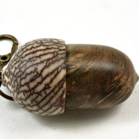 LV-3710 Pollyanna Burl & Betel Nut Acorn Pendant Box, Charm, Pill Holder-SCREW CAP