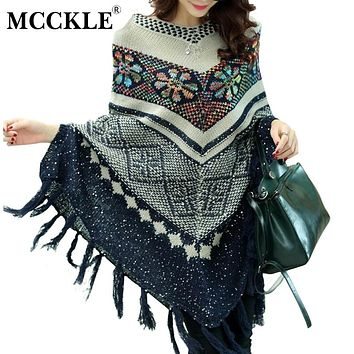 MCCKLE Women's Fashion Sweater Pull Pullover Cardigan Womens Capes And Ponchoes Winter Cape With Tassel Vintage Bohemian Sweater