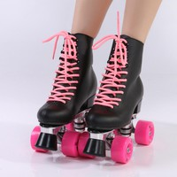 Double row roller skate leather black high boot pink wheels skating shoe Aluminum alloy tripod ,free shipping