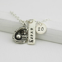 Personalized Baseball Necklace -Sterling Silver Baseball or Softball Necklace -Jersey Number and Name Bar -Baseball Jewelry -Sports Necklace