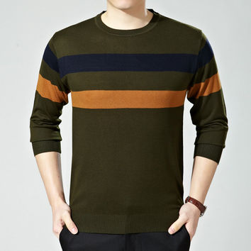 Round-neck Long Sleeve Wool Stripes Knit T-shirts [6544581571]