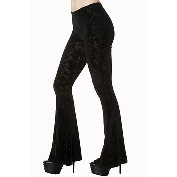 Gothic Witch Witchcraft Ouija Board Occult Black Velvet Bell Bottoms Flares Flared Leggings