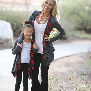 Mommy & Daughter Plaid Love Cardigans