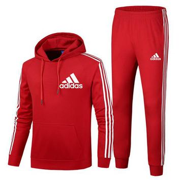 ADIDAS autumn and winter plus velvet sports and leisure running clothes two-piece red