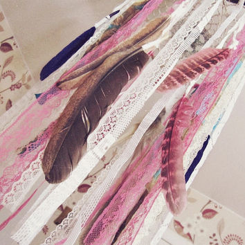 Feathers Dreamcatcher Mobile - Bohemian Nursery Decor - Gypsy Crib Mobile - Boho Bedroom - Hippie Decor - Made 2 Order