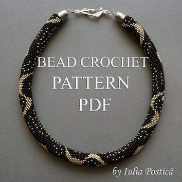 "Pattern for bead crochet necklace ""Silver Rain"" / Bead crochet pattern / Beaded Necklace / Crochet Rope Pattern / Black silver PATTERN ONLY"