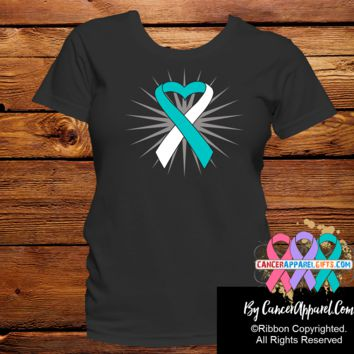 Cervical Cancer Awareness Heart Ribbon Shirts