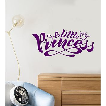 Vinyl Wall Decal Logo Words Little Princess Crown Children's Room Stickers (3212ig)