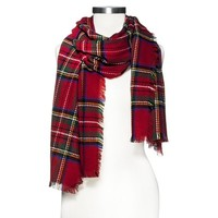 Multicolored Oversized Plaid Scarf - Red