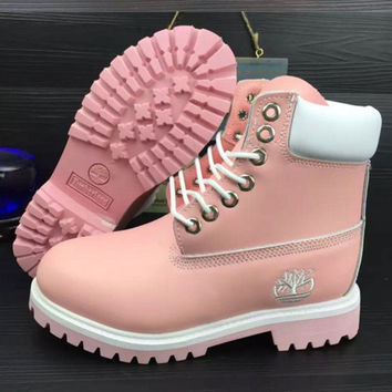 Timberland Rhubarb boots for men and women shoes waterproof Martin boots  lovers Pink-white pink 3b5937a73f