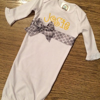 Grey and Yellow Baby Girl Gown