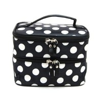 BONAMART ® Double Layer Cosmetic Bag Black with White Dot Travel Toiletry Cosmetic Makeup Bag Organizer With Mirror