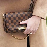 Free shipping-LV Women's Shoulder Bag Chain Bag Crossbody Bag Coffee check