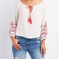 Embroidered Tie-Front Top