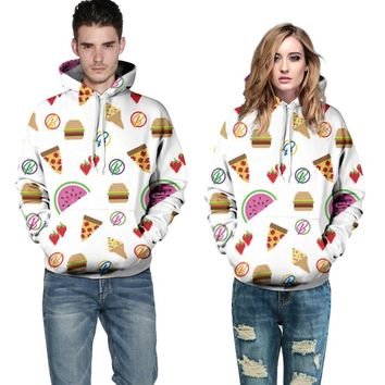 Ols 1707 Hot selling 3D printed food Fashion Autumn Style Plaid Casual Sweatshirts For women 2016 new with pocket hoody hoodies