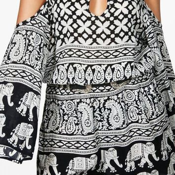 Sophie Elephant Print Cold Shoulder Playsuit | Boohoo