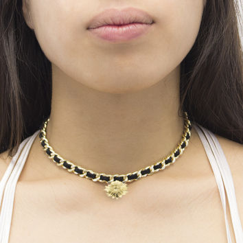 Sunflower Woven Leather Choker