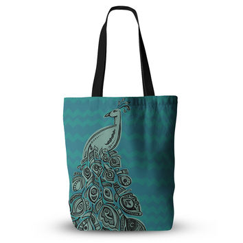 "Brienne Jepkema ""Peacock Blue II"" Teal Green Everything Tote Bag"