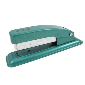 Get Attached - Vintage 50s Turquoise Swingline Cub Stapler, Heavy Duty All Metal & Compact Size, Mid Century Desk Accessory