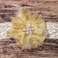 Handmade Gold Tulle Flower with Rhinestone Flower Center Baby Girl Headband.