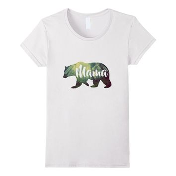 Women's Mama Bear & Forest T-Shirt Awesome Camping Tee
