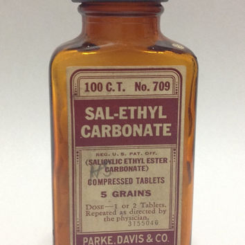 Vintage 1940s Parke Davis Sal-Ethyl Carbonate Antique Medicine With Contents