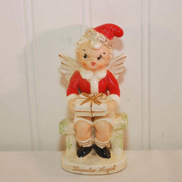 Vintage Male December Angel Figurine (c. 1950's?) Made In Japan, Boy Angel, Holiday Cherub, Santa Angel, Santa Cherub, Collectible