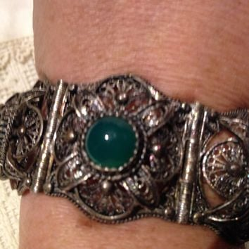 Vintage Gothic Filigree Sterling Silver with Green Onyx Chunky Statement Bracelet