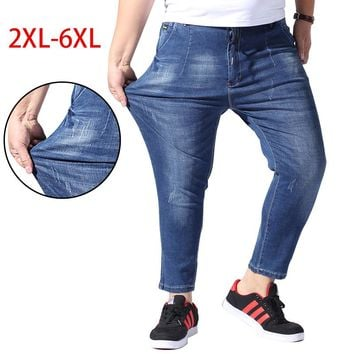2018 Summer Big Size 2XL-6XL Men Jeans Fashion Stretch Blue Denim Brand Male Long Pants Elastic Plus Biker Tall Overalls CQY04