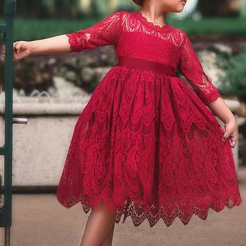 Red Lace Ruffle Pleated High Waisted Daddy Daughter Dance Tutu Cute Midi Dress