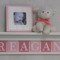 "Baby Girls Nursery Wall Decor Pink - REAGAN - 24"" Linen White Shelf with 6 Wooden Letters"