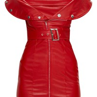 Red Faux Leather Bardot Waist Belt Bodycon Dress