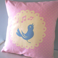 Bird Song Cushion / Pillow cover Upcycled Teatowel