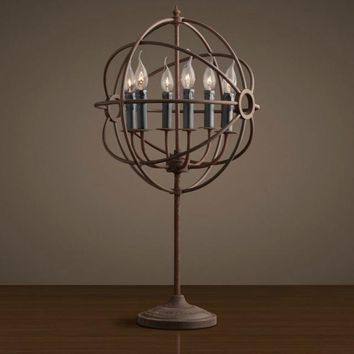 Iron Globe Crystal Chandelier- RH Loft Industrial Style Floor Lamp