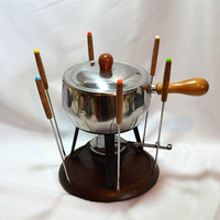 Retro Fondue Set - Complete  - 6 Colored Fondue Forks - Stainless Steel Pan - Lid w/ Wood Knob - Sterno or Candle Holder - Wood Base
