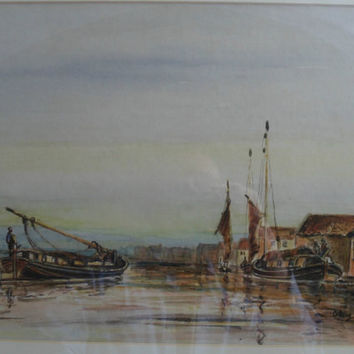 Original watercolour landscape painting by Anthony Crake - Wherries Scene featuring traditional Wherry sailing boats. Marine art