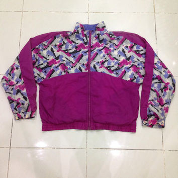 vintage 90s reebok track top windbreaker / hip hop style sweater jacket