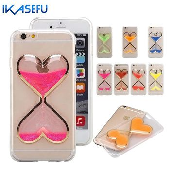 Silicone Case for iPhone 5 6 6S 7 Plus 4 4S Glitter Bling Heart Shape Hourglass Phone Case 5 5S 5C Cover S6 S7 Edge Fundas