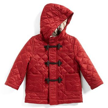 Infant Girl's Burberry Quilted Hooded Jacket,