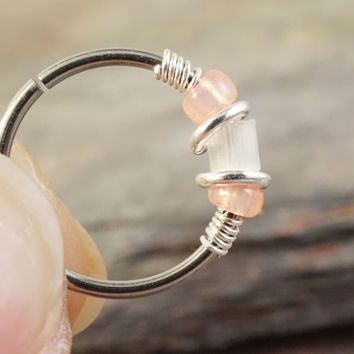 Peach and Opalescent White Beaded Hoop 18 or 20 Gauge Nose Hoop Ring Cartilage Hoop Earring