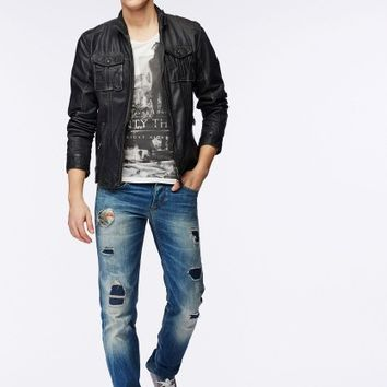 Buy leather biker jacket |Pepe Jeans London