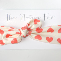 Organic Cotton Knotted Baby Headband - Pink Hearts