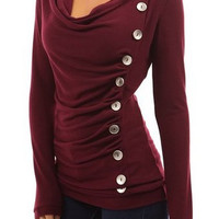 Noble Cowl Neck Long Sleeve With Button Blouse