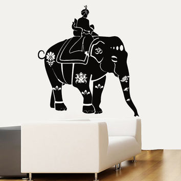 Wall Decals Vinyl Decal Ganesha Decorated Indian Elephant Floral Design Om Sign Home Vinyl Decal Sticker Kids Nursery Baby Room Decor kk157