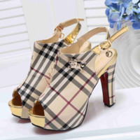 BURBERRY High Heel Shoes, Pointed top Detachable, tussah tie Black Imitation Leather Shoes