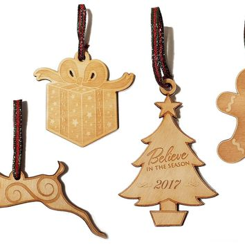 Set of 4 Laser Engraved Wooden Christmas Tree Ornament Gift Seasonal Decoration