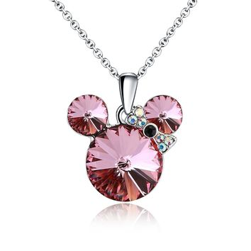 Lucky Mouse Pendant Necklace Made with Swarovski Crystals Women Jewelry Chain 16+2 inch